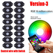 16 Pods Rgb Led Rock Lights Kit Wireless Music For Off Road Truck Boat 4x4 Ute
