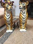 a Pair Of Porcelain Tiger Statue's , There's An Hair Line Crack On One