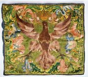 Glorious Antique 18th Century Polish Eagle Silk Tapestry Embroidery Textile