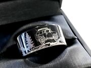 Jeep Track Car Pattern Engraved Ring Mens Engagement Ring Mens Tungsten Ring