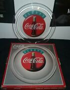 Always Coca Cola Clear Glass Round 13 Serving Tray Platter Vintage 1995 Boxed