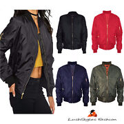 Womens Ma1 Classic Padded Bomber Jacket Ladies Vintage - Available In Plus Sizes