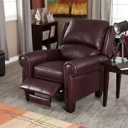 Burgundy Top-grain Leather Upholstered Wing-back Club Chair Recliner Comfort
