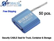 Metal Cable Seal Security Seal, Numbered With Barcode 12 Inch Blue, 50 Pcs. Bfs