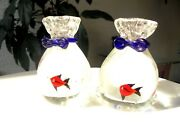 Set Of 2 Small Crystal Tropical Fish Bags Figurines