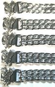 5 Eagle Diamond Cut Chrome Chain Motorcycle Biker Vest Extenders Made In Usa
