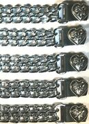 5 Heart And Rose Diamond Cut Chrome Chain Motorcycle Biker Vest Extenders Usa