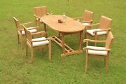 Dsnp A-grade Teak Wood 7 Pc Dining 94 Mas Oval Table 6 Stacking Arm Chair Set