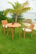 Dsnp A-grade Teak Wood 3pc Dining 36 Round Table Arm Stacking Chair Outdoor Set