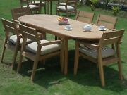 Dsvl A-grade Teak Wood 7pc Dining 94 Oval Table 6 Stacking Arm Chair Set