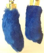 2x Real Rabbit Foot Lucky Keychain Sky Blue Vraie Patte De Lapin Chanceuse Bleue