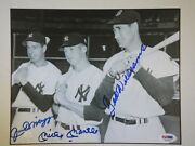 Mickey Mantle Joe Dimaggio Ted Williams Psa/dna Certified Signed 8x10 Photo Auto