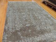 6x9 Modern Vintage-style Area Rug Neutral Lace Gray Wool And Silk