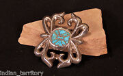 Zuni Sand Cast Sterling Silver Belt Buckle With Inlaid Turquoise 3 1/4 X 2 1/2