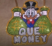925 Sterling Silver Customized 2.75'' Que Money Mc Duck Cz Pendant Free Shipping
