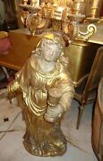 Antique French Religious Saint St. Female Figure Statue French Chandelier Light