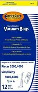 12 Riccar 2000, 4000, Simplicity 5000, 6000 Type A Vacuum Bags With Microfiltrat