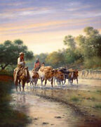 Picking Up Strays By Jack Terry Cowboy Longhorn Cattle Drive Horses Art Print