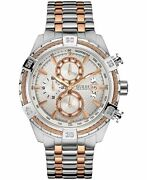 Guess Men's U0522g4 Stainless Steel And Rose Gold-tone Chronograph Watch With Date