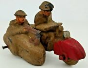 Antique Auburn Military Motorcycle W/ Sidecar And Soldiers Hard Rubber Toy
