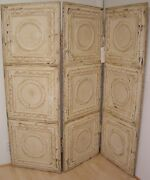 Three Panel Screen Made From Antique Tin Ceiling Tiles