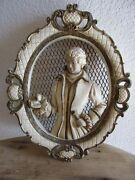 Vintage1958 Universal Statuary Corp. Victorian Man Oval Wall Hanging