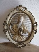 Vintage1958 Universal Statuary Corp. Victorian Woman Oval Wall Hanging