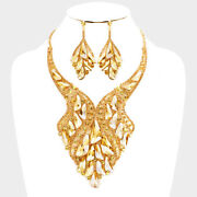 Luxe Statement Couture Gold Topaz Crystal Cocktail Necklace Set Rocks Boutique