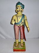 Antique Rajasthani Guard Statue Gilded, Ornamented,bare Chest,turban 1800s 35h