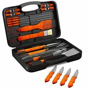 Bbq Grill Tools Set With 22 Barbecue Accessories - Includes 4 Steak Knives - St