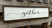 Farmhouse Wood Sign Gather Kitchen Wooden Rustic Family Home Decor Country Large