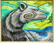 Carlos Sandoval Taos Wolf Oil On Canvas 16x20 Framed By Great Taos Artist