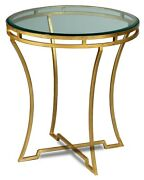 22 H Cinzia Set Of Two Side Table Iron Glass Antique Gold Finish