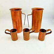 5 Antique Primitive Copper Pitchers Tankards Cups Handmade Hammered