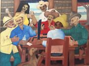 Cuban Artist Oil Painting Hector Molne Reproduction Guajiros Afro Latin American