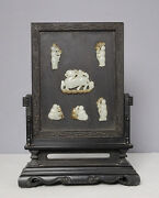 Chinese Carved Jade Insert Table Screen With Wood Stand  M2308
