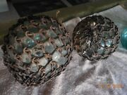 Antique Japanese Glass Fishing Balls 4 Very Old 100 Years All Original.