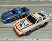 For H0 Slotcar Racing Model Railway Datsun 280 Zx + Mazda Rx 7 With Tyco Motor