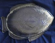 2 Pc. Set Clear Glass Fish Shaped Dinner Or Serving Plates 10 Long X 8
