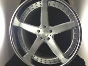 20 Inch 5 Spoke 3pc Wheels Brushed With Clear Centerchromed Outer Lip