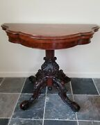 Beautiful Victorian 19th Century Antique Game / Console Table,great Carving