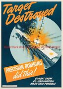Wwii Poster Target Destroyed Army Print Submarine World War Air Bomb Sight Ww2