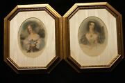 Pair Vintage Framed Matted French Hand Colored Portrait Prints Of Inez And Lesbia