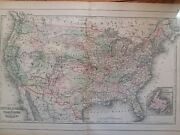 Antique Map Of United States 1893 Mitchell's Family Atlas