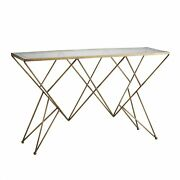 52 Long Console Table Modern Gold Gray Antique Brass Antiqued Mirror Border Fin