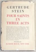 Four Saints In Three Acts Signed By Gertrude Stein Hard Bound Dj 1st Ed