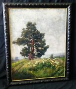 1918 German Oil Painting The Oak By Carl Max Schultheiss 1885-1961 Rud