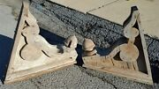 2 Antique Shabby Chic Victorian Wooden Corbels Brackets Distressed Salvaged 3