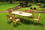 Dswv A-grade Teak 7pc Dining Set 118 Oval Table 6 Stacking Arm Chair Outdoor