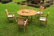 Dsms A-grade Teak 6pc Dining Set 60 Round Table 5 Stacking Arm Chair Outdoor